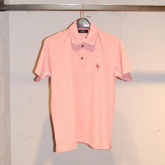 【REQUEST】フラミンゴ刺繍ポロシャツ ピンク系