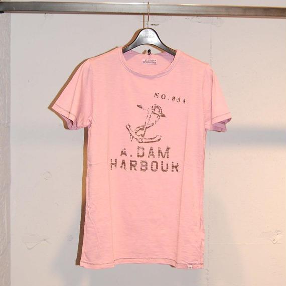 """【DSTREZZED】""""A.DAM HARBOUR""""スラブ生地Tシャツ ピンク"""