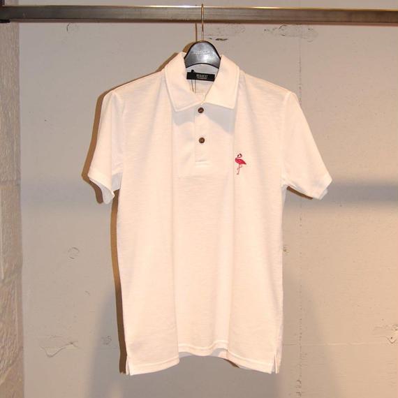 【REQUEST】フラミンゴ刺繍ポロシャツ ホワイト