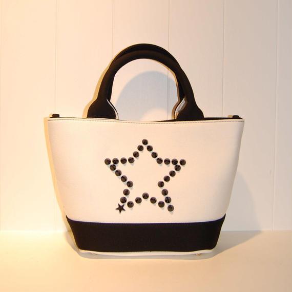 【StarLean】スタースタッズキャンバスミニトートバッグ ホワイト