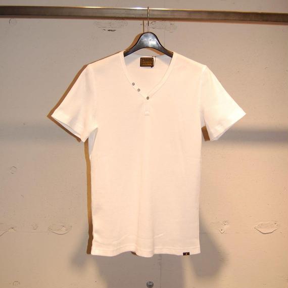 【291295=HOMME】コットンワッフルサーマルTシャツ ホワイト