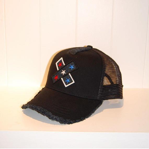 【StarLean】クロス刺繍メッシュキャップ ブラック