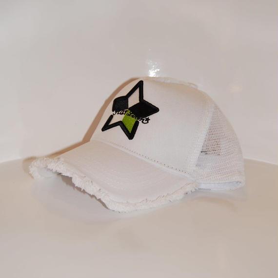 【StarLean】5パーツ メッシュキャップ ホワイト×イエローグリーン