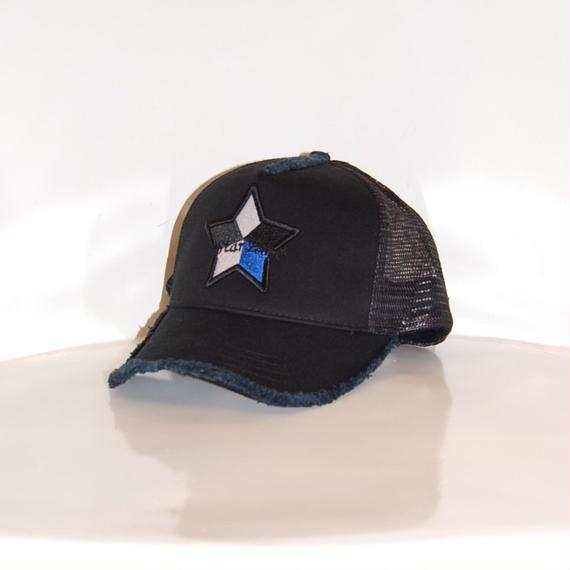 【StarLean】5パーツ メッシュキャップ ブラック×ブルー