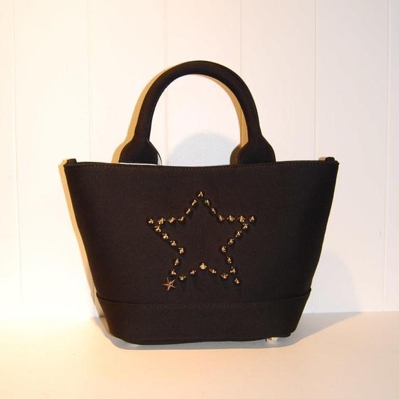 【StarLean】スタースタッズキャンバスミニトートバッグ ブラック