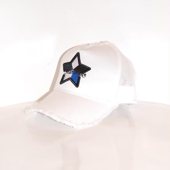 【StarLean】5パーツ メッシュキャップ ホワイト×ブルー