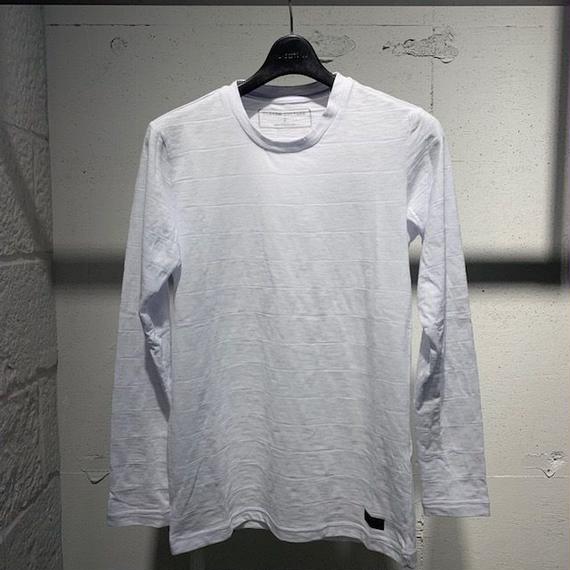 【Custom Culture】ピンタックボーダークルーネックロンT ホワイト