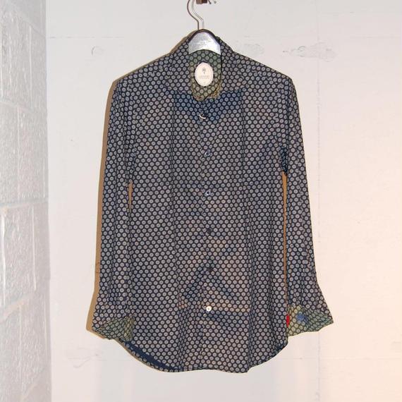 【GANESH】小花柄コットンシャツ ネイビー系