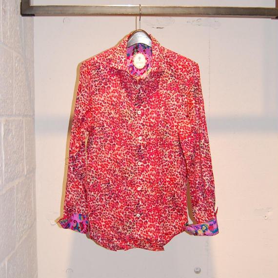 【GANESH】フラワーデザインコットンシャツ ピンク系