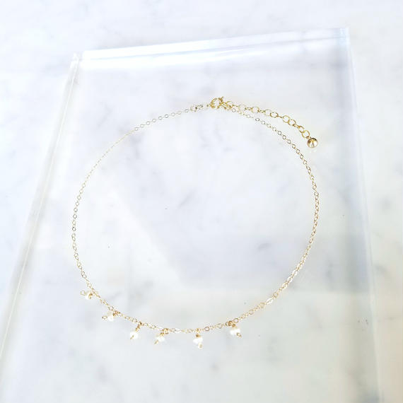 14kgf Tiny Pearl Choker Necklace