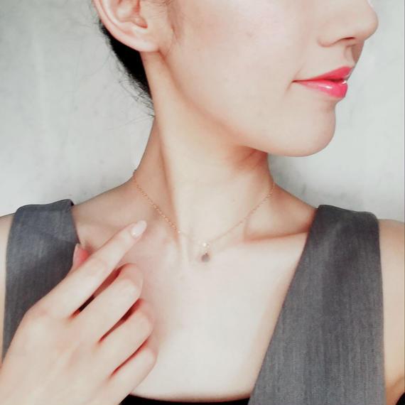 【再販】14kgf Gray Moon Stone Choker Necklace 【天然石 ムーンストーン】