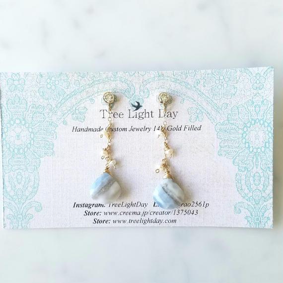 【良質オパール天然石】14kgf Zirconia Blue Opal w pearls