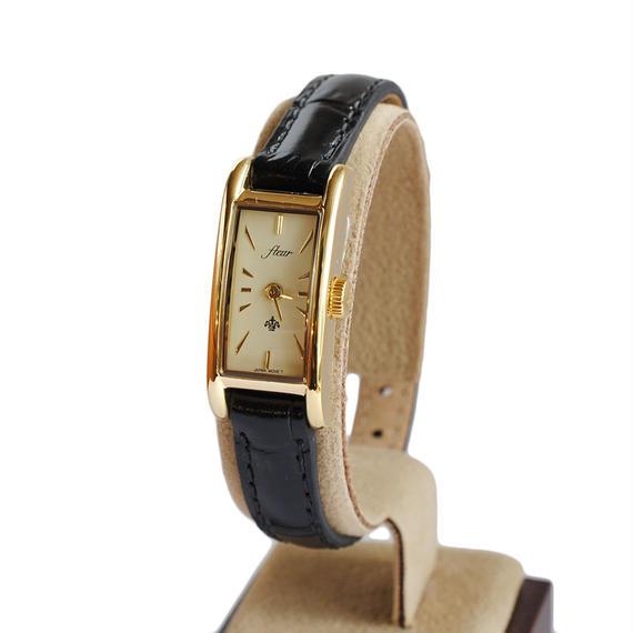fleur:フル―ル 《F005 - GOLD/BLACK》腕時計 レザーベルト