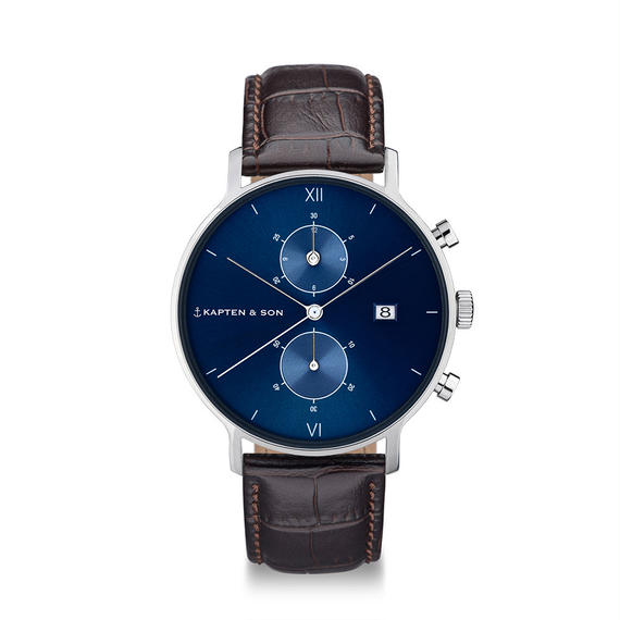 KAPTEN&SON:キャプテン&サン《Chrono (40mm) Blue Dark Brown Croco》腕時計 レザーバンド