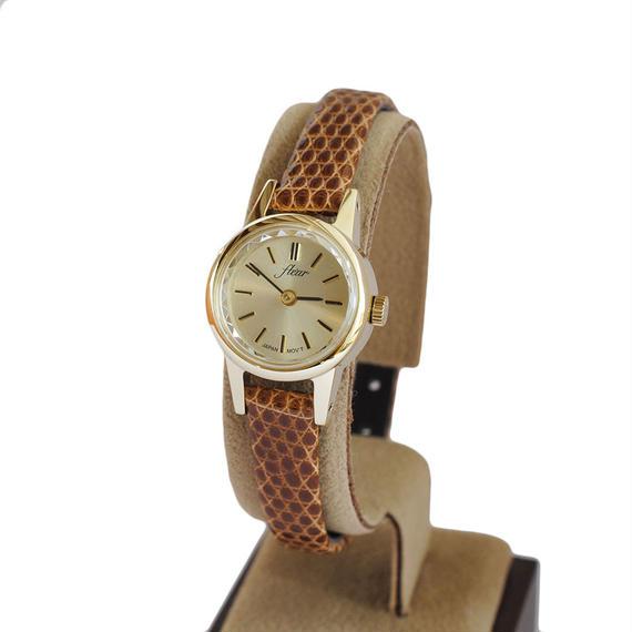 fleur:フル―ル 《F002 - GOLD/CAMEL》腕時計 リザードベルト