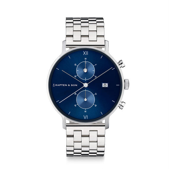 KAPTEN&SON:キャプテン&サン《Chrono (40mm) SILVER Steel Blue》腕時計 メタルバンド