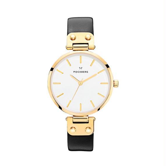 MOCKBERG:モックバーグ《MO107 SAGA Yellow Gold/White/Black》腕時計 レザーバンド
