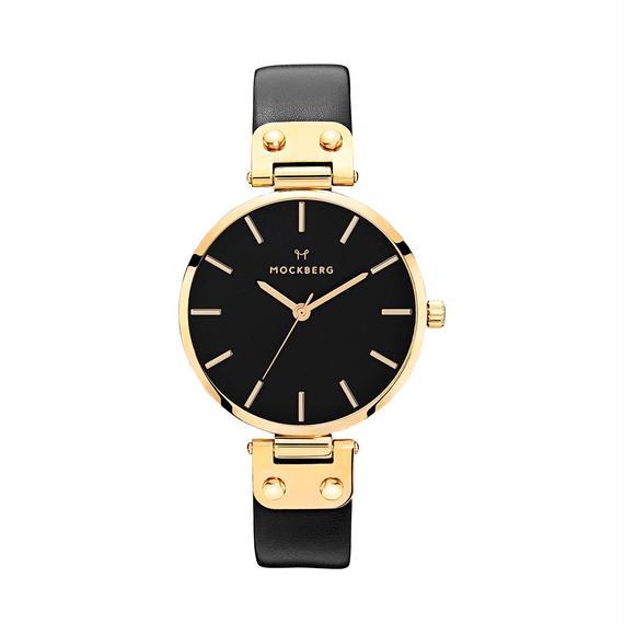 MOCKBERG:モックバーグ《MO113 SAGA BLACK Yellow Gold/Black/Black》腕時計 レザーバンド