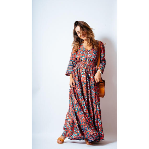 Mila The Label '18ss Maya Maxi Dress / Cherry, Turquoise