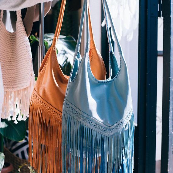 Turquoise Blue Co.  Fringe Leather Bag