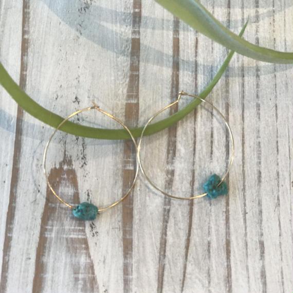 turquoise フープピアス