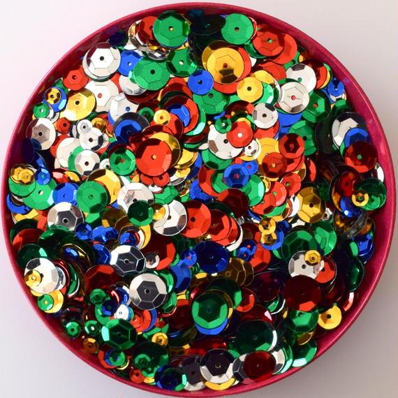 カラフルスパンコール ミックス 丸形/Round (約5mm,8mm,10mm,12mm) 4500枚セット /ゴールド・シルバー・レッド・グリーン・ブルー (B418)