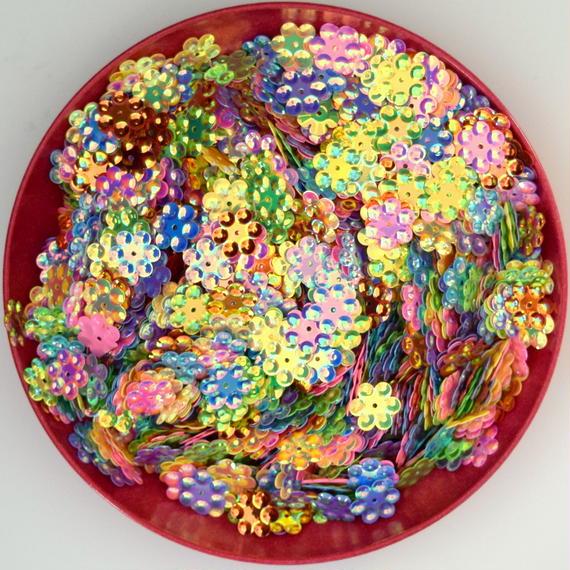カラフル花の形のスパンコール AB カラー 1200枚セット (約12mm×11mm)(B384)