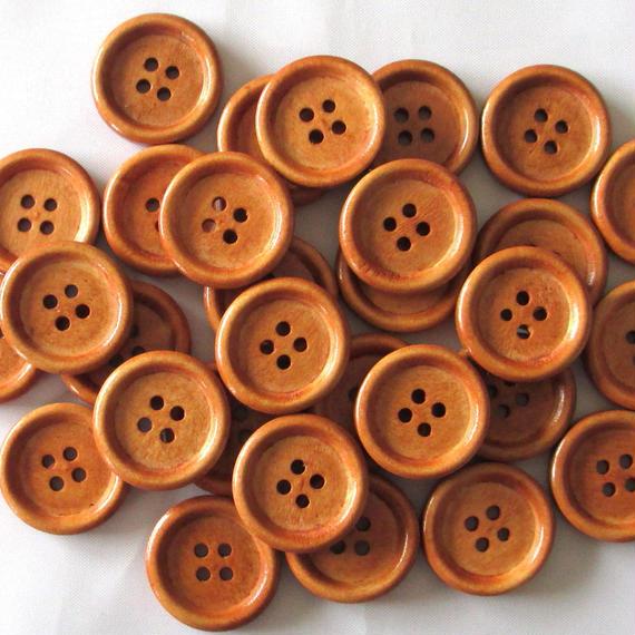 ウッドボタンコーヒーブラウン 4ホール 20mm 30個セット(073)