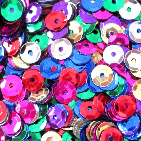 カラフルスパンコール 2000枚セット(7mm)(ピンク、ブルー、グリーン、レッド、ゴールド、シルバー、パープル) (B097)
