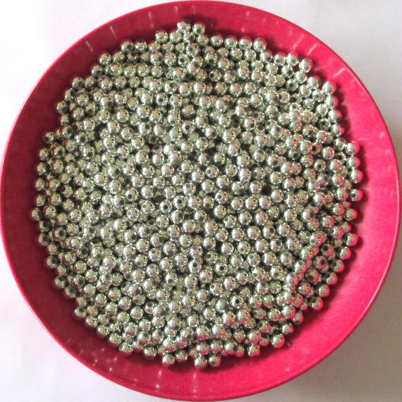 シルバートーンの丸いビーズ 800個セット(約5mm) (SB350)