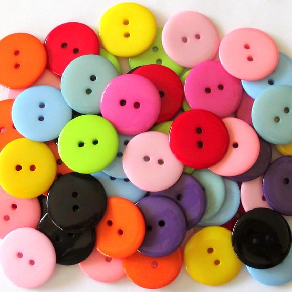 カラフル大きなボタン 11色55個セット(22.5mm)(ブラック入り)(097)