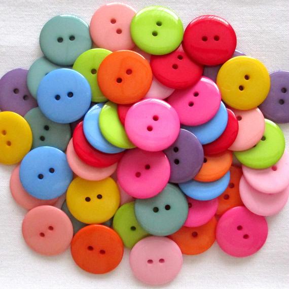 カラフル大きいボタン 10色50個セット(22.5mm) (005)