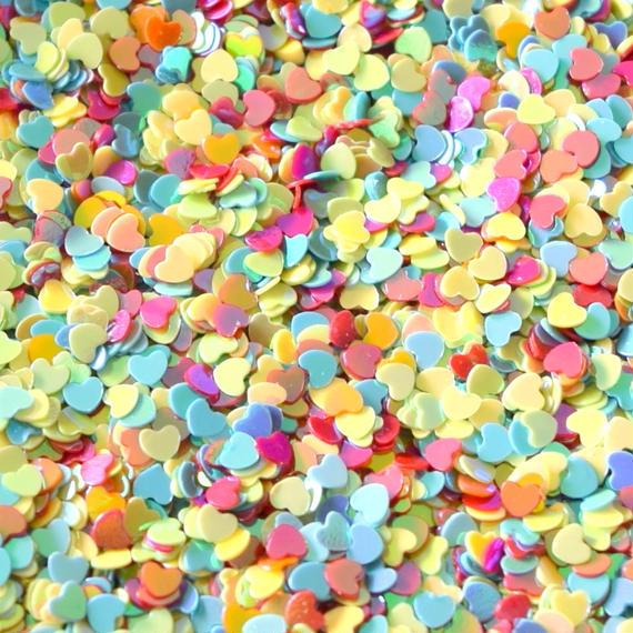 カラフル小さいハート形のスパンコール AB カラー (約3mm、穴なし) 約40g (B382)