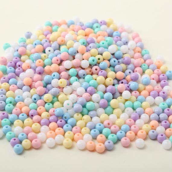 カラフルクリーム色の丸いビーズ 500個セット(5mm)(パステルカラー)(SB396)