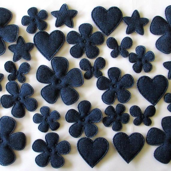 ブルーデニムのふわふわアップリケ・モチーフ 6種類30個セット(花、ハート、星、ちょうちょ)(B231)
