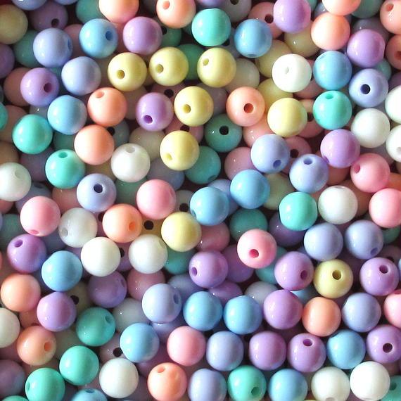 カラフルクリーム色の丸いビーズ 250個セット(約8mm)(パステルカラー) (B346)