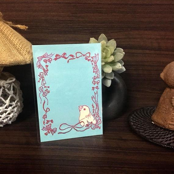 ポストカード 白文鳥とリボン 2018for花蓮 HANDandHEART