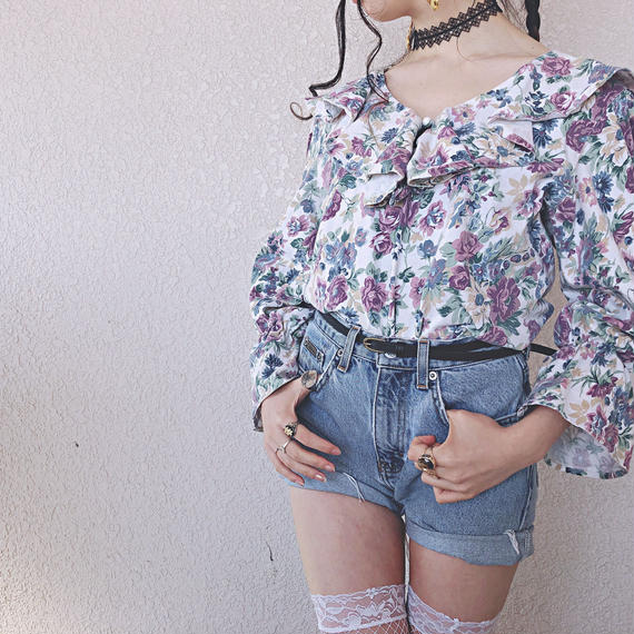 Ruffle Collar Flower Print Tops