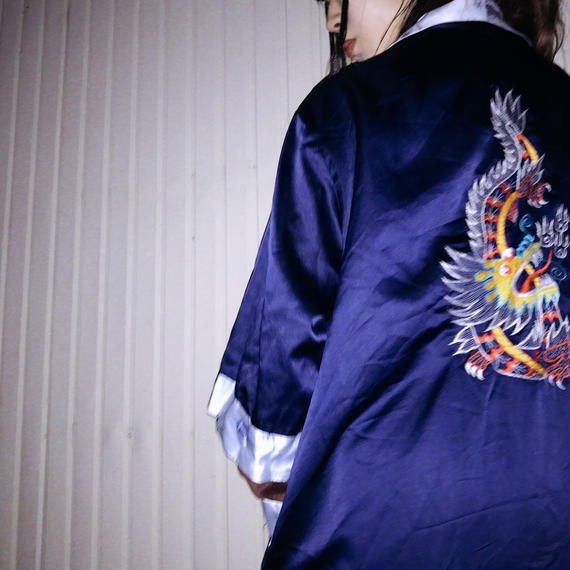 Reversible Embroidery China  Gown Navy × Blue