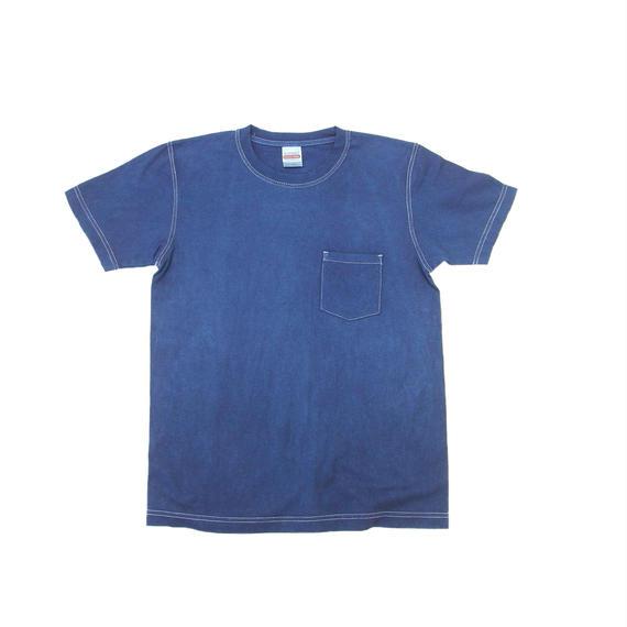 藍染めTシャツ 渋藍(しぶあい) 厚地生地T (ポケット付き)