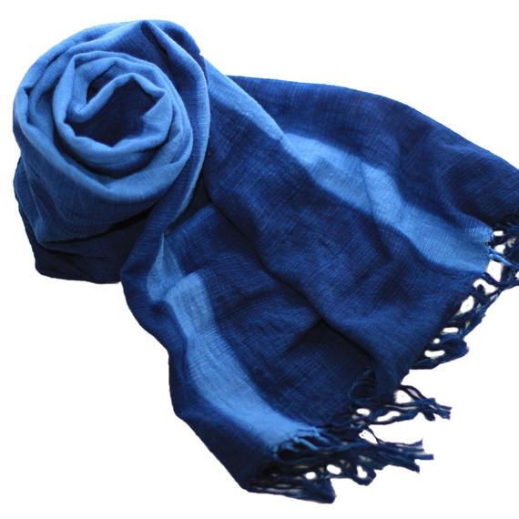 藍染め綿ストール大判 板締め模様
