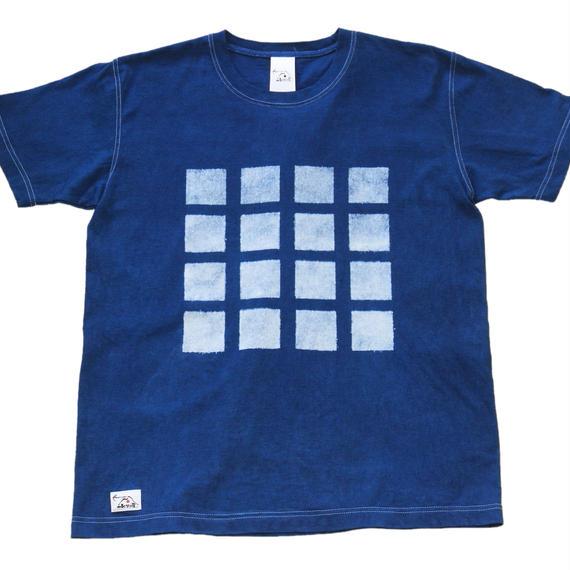 型染め「四角柄」藍染めTシャツ