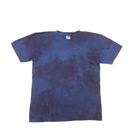 藍染めTシャツ 二度染め絞り模様