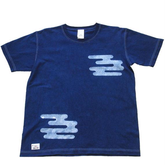 本藍抜染(バッセン) 双雲柄  手染めTシャツ