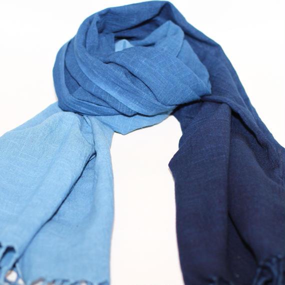 藍染め綿ストール大判 グラデーション