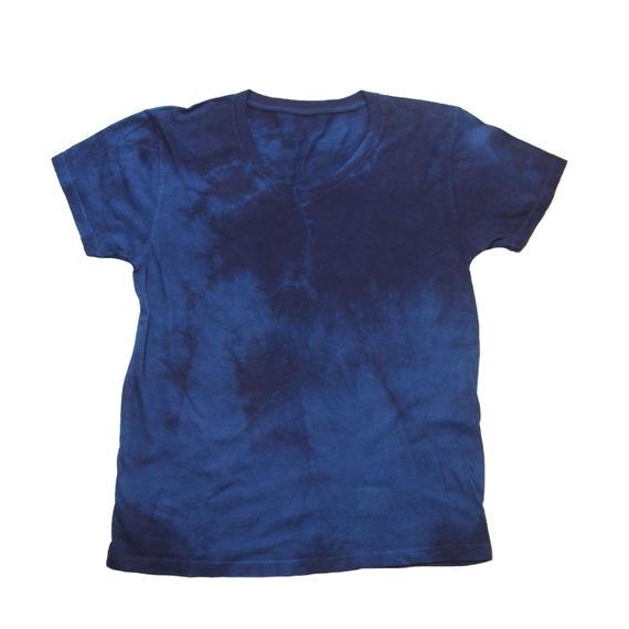 藍染めVネックTシャツ 二度染め
