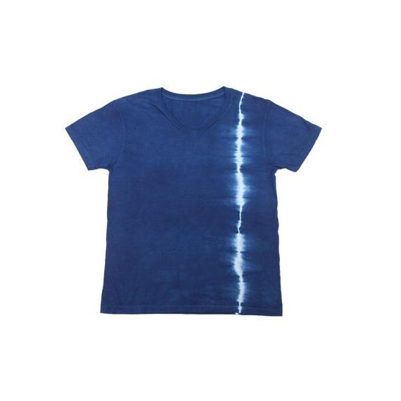 藍染めTシャツ 一本絞り模様