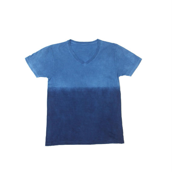 藍染めTシャツ Vネック 浅葱色(あさぎいろ)と渋藍(しぶあい)