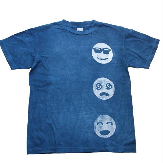 型染め「絵文字」藍染めTシャツ