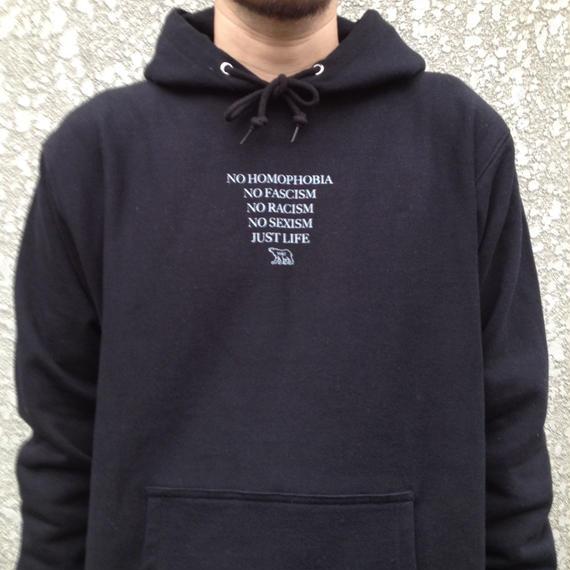 "w&i ""JUST LIFE"" Black hoodie  ※お支払い方法は銀行振込を選択して下さい"